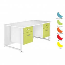 Duo Coloured Rectangular Desk With Double Pedestal