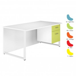Duo Coloured Rectangular Desk With Single Pedestal