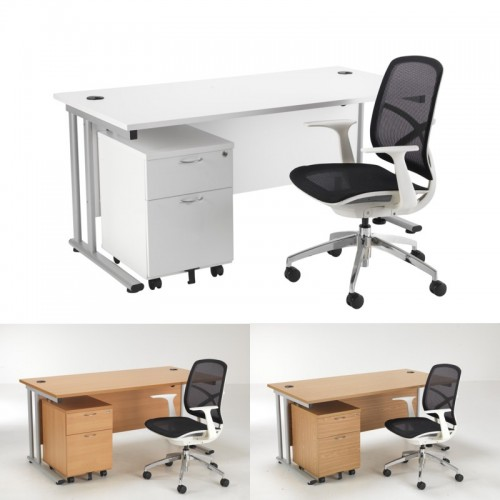 A Zico Mesh Chair Desk Bundle Office Furniture Uk