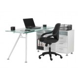 Glass Desk & Designer Mesh Chair