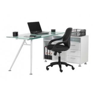 Glass Desk & Designer Mesh Chair