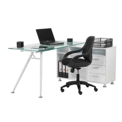 Home Office Furniture Uk Desk Set 18: Glass Desk & Designer Mesh Chair