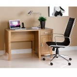 Oak Desk & Designer Leather Chair