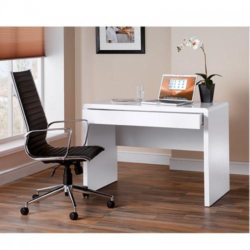 White Gloss Desk Designer Leather Chair