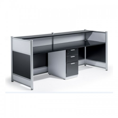 High Gloss Reception Desk Black
