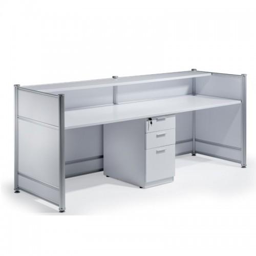 High Gloss Reception Desk White