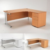Lite Crescent Desk and Pedestal