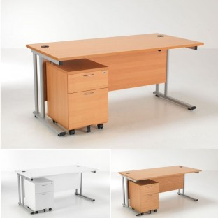 Lite Rectangular Desk and 2 Drawer Pedestal