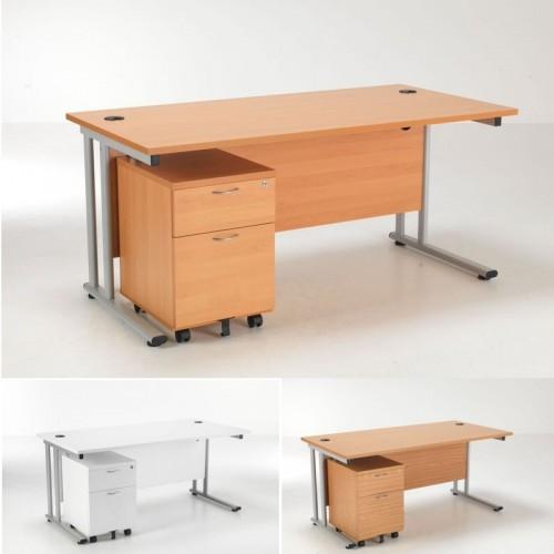 Lite Rectangular Desk And 2 Drawer Pedestal Office Desks Uk