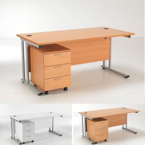 Lite Rectangular Desk And 3 Drawer Pedestal Office Desks Uk